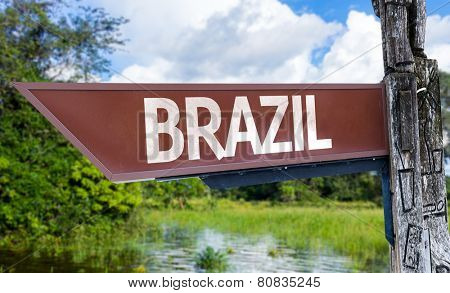 Brazil wooden sign with a forest background