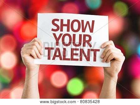Show your Talent card with colorful background with defocused lights