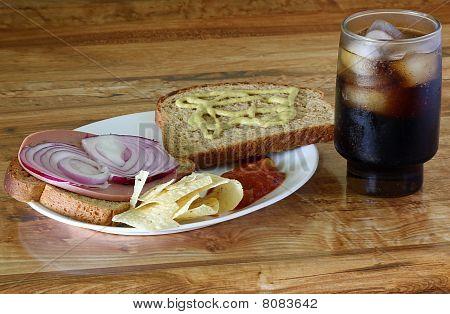 Jalapeno Bologna And Onion Sandwich