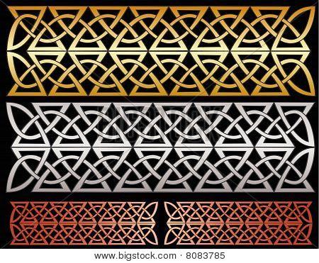 Metallic knotwork decorations