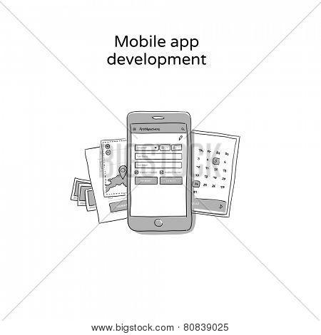 Mobile app development - hand drawn icon