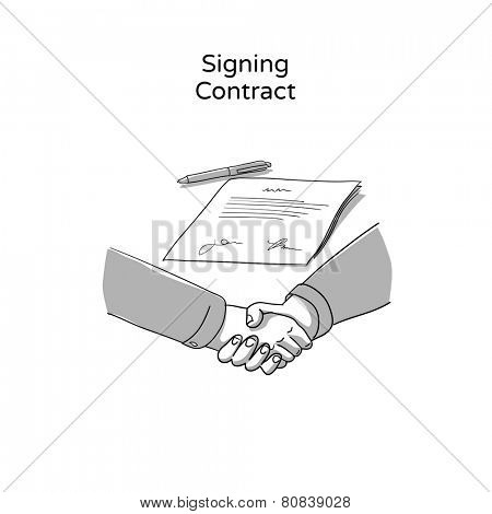 Handshake / business concept - hand drawn icon