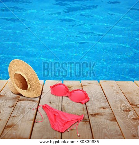 Bright beach accessories on  background