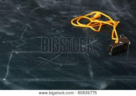 Scheme football game erased from blackboard background