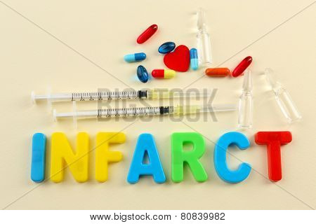 Medicines with word Infarct on colorful background