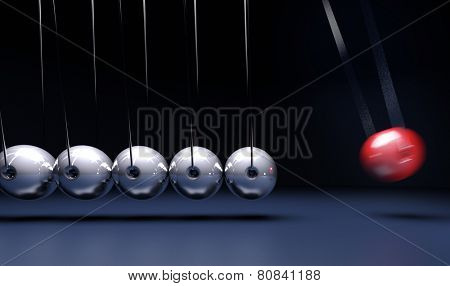 3D rendering of a Newtons cradle