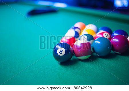 Pool Balls On Green Snooker Table