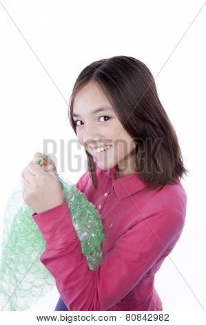 Girl Likes To Pop Bubble Wrap.