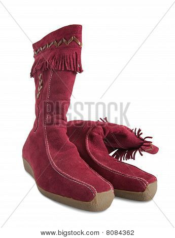 Red  Deerskin Womanish Boots