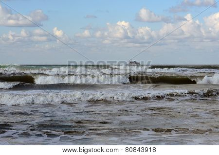 Waves Of The Black Sea, Anapa, Krasnodar Krai. The Ship In The Sea On The Horizon.