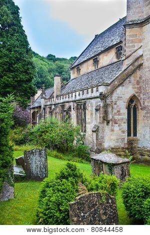 CHIPPENHAM, UK - AUGUST 9, 2014: Old church in  Castle Combe village.