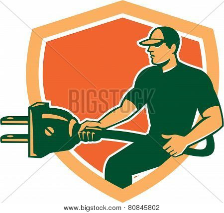 Electrician Carrying Electric Plug Shield Retro