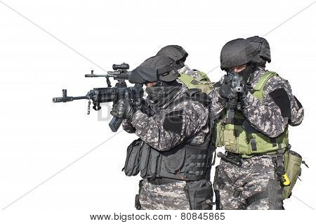Fight against terrorism, Special Forces soldier, detail aiming the lens, police swat, isolated on wh