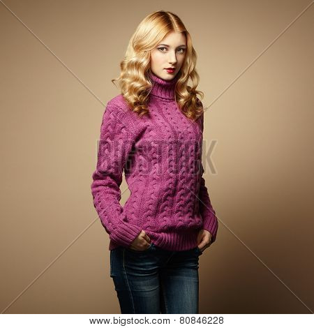 Fashion Photo Of Beautiful Woman In Sweater