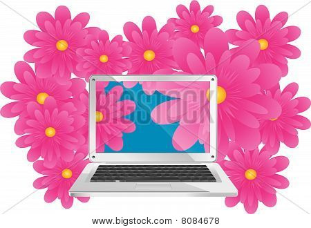 Pc with flowers