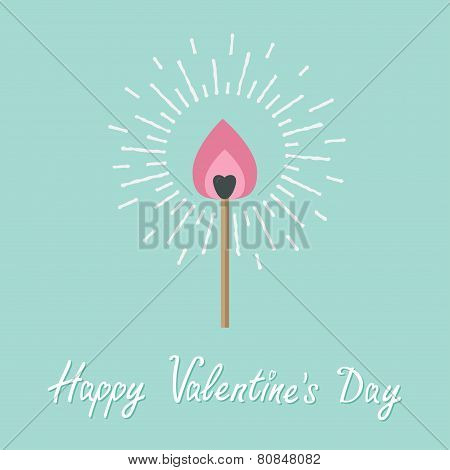 Burning Love Match With Pink Fire Light Shining Sunlight Effect. Flat Design Style. Happy Valentines