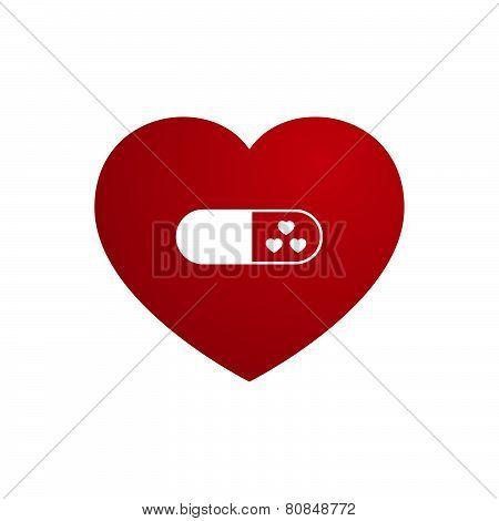Vector Love Heart With Capsule Medicine