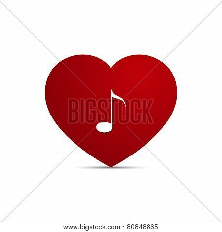 Vector Love Heart Music Note