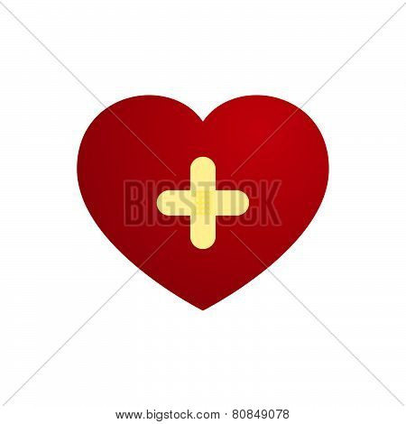 Vector Love Heart With Plaster In Cross Shape