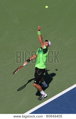 Professional tennis player  Juan Monaco from Argentina during US Open 2014 first round match