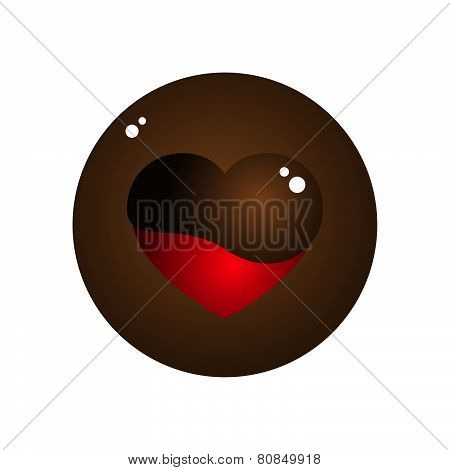 Vector Love Heart Melt Chocolate Circle Design