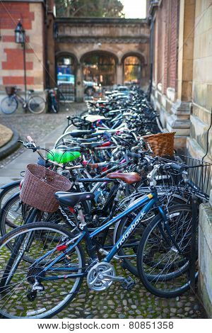 Student's bikes in Pembroke college, university of Cambridge. The inner courtyard