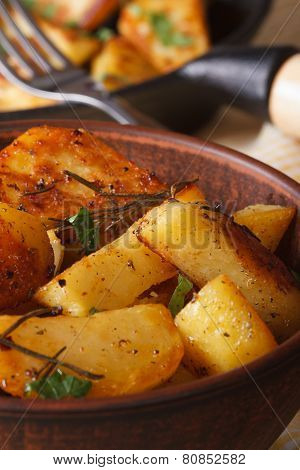 Hot Fried Potatoes In A Bowl Macro Vertical, Rustic