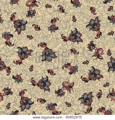 textile flowers seamless pattern.