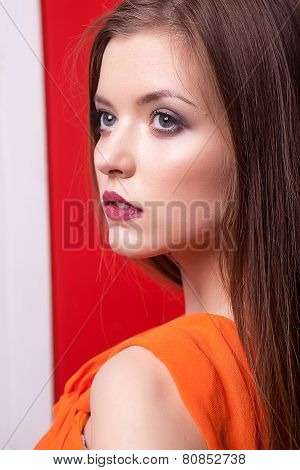 Portrait Of Gorgeous Woman Looking Away
