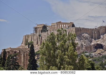 Acropolis and columns of the Olympian Zeus Greece