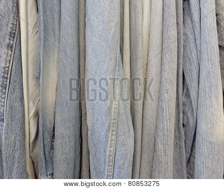 variety of jeans clothing closeup
