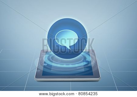 electronics, technology and communication concept - tablet pc computer with virtual message icon above screen over blue background
