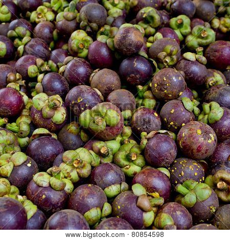 Mangosteen Is A Popular Fruit In Thailand Background Texture