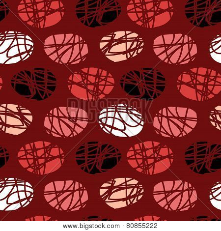 Seamless Burgundy Pattern Of Circles Scratched