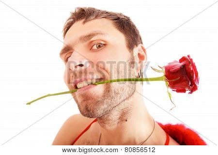 Handsome Man Hold Red Rose