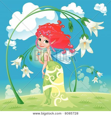 Fairy with flowers.