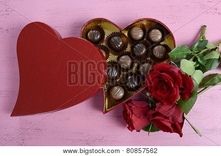 Happy Valentines Day Red Heart Shape Gift Box Of Chocolates With Bunch Of Red Roses On Shabby Chic V