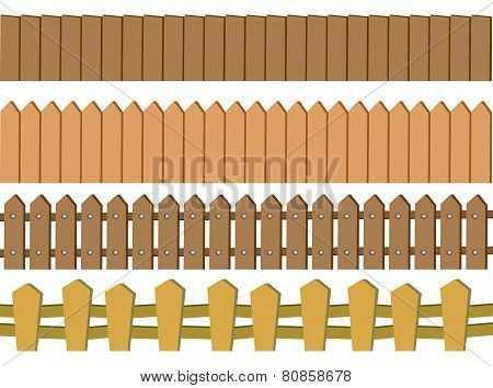 Seamless Rustic Wooden Fence Vector Design Isolated On White Background