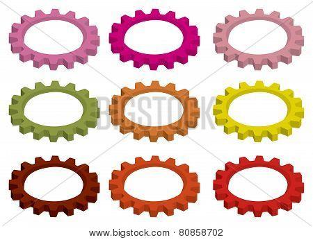 Colorful Circular Cogwheel Gears Vector Illustration