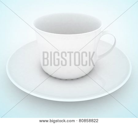 Empty white tea or coffee cup . 3d illustration on white background