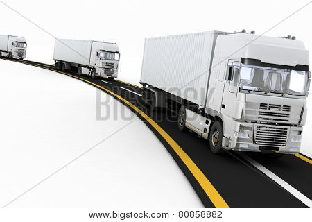 White Trucks on freeway. 3d render illustration. Concept of logistics, delivery and transporting by freight motor transport.