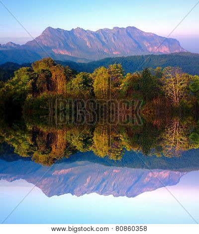 Doi luang chiang dao mountain at chiangmai thailand in mirror  effect