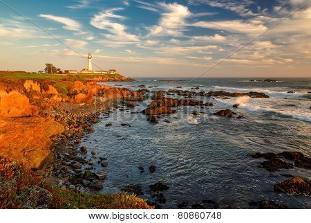 Lighthouse at sunset, Pigeon Point, California coast