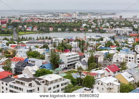 Reykjavik houses aerial view and lake, Iceland