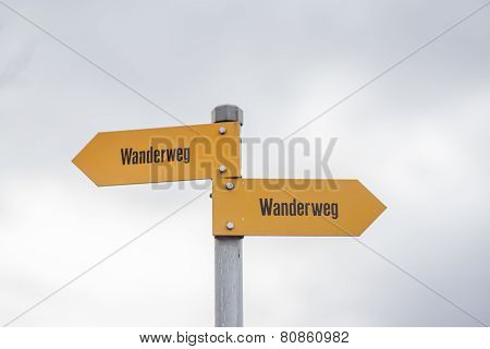 Sign Post Of Swiss Alps