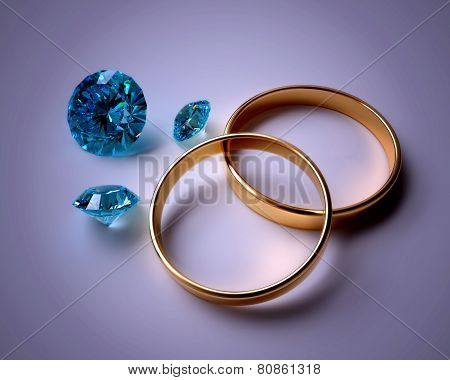 wedding rings and blue gems