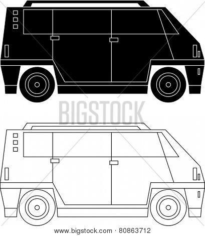 Black and white line art of a passenger car