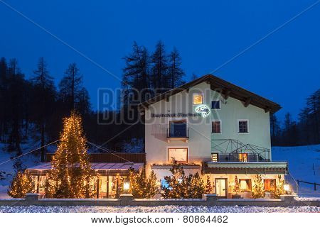 Night View Of House With Lighting Christmas Tree In Front