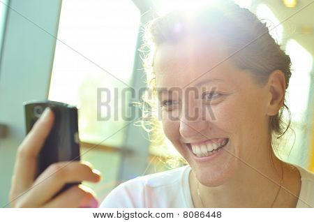Woman Is Watching A Phone