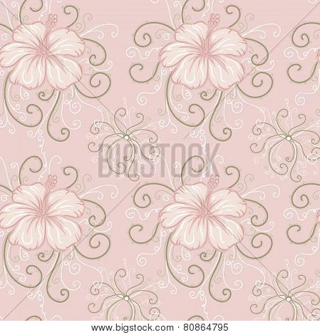 seamless background with pink hibiscus
